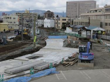 【田原町駅建替工事②】福井鉄道側旧駅舎の解体工事の様子(2014.02~03)