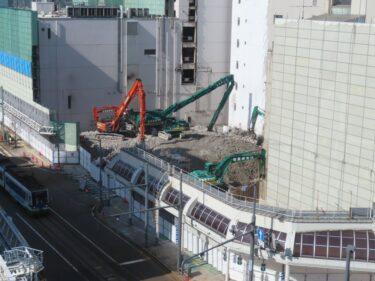【三角地帯再開発A工事記録24】(2021.2)廃止市道付近建物解体5