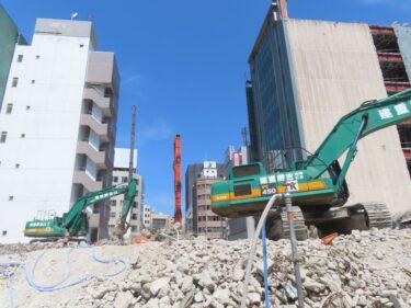 【三角地帯再開発A工事記録31】(2021.3)廃止市道南側・敷地中央付近建物解体5