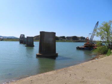 旧布施田橋撤去工事状況 2021.4